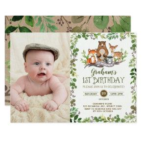 Woodland First 1st Birthday Party Forest Animals Invitation
