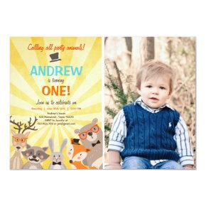 Woodland First Birthday Invitation Forest Hipster