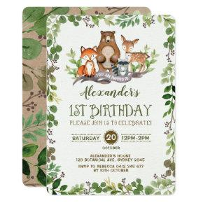 Woodland Forest Animals First 1st Birthday Invite
