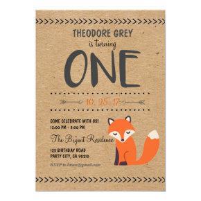 Woodland Fox Chevron Boy First Birthday invitation