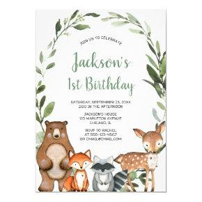 Woodland greenery animals boys 1st birthday party invitation