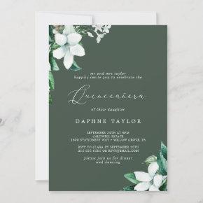 Woodland Greenery | Hunter Green Quinceañera Invitation