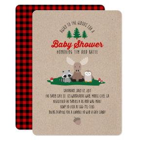 Woodland Lumberjack Baby Shower Animals Invitation
