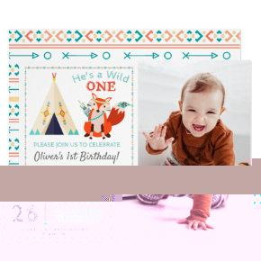 Woodland Wild One Fox Boho Boy 1st Birthday Photo Card