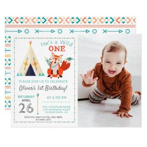 Woodland Wild One Fox Boho Boy 1st Birthday Photo Invitation