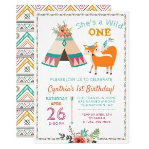 Woodland Wild One Fox Boho Girl 1st Birthday Card