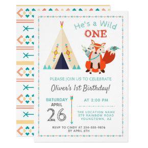 Woodland Wild One Fox Boho Teepee Boy1st Birthday Invitation