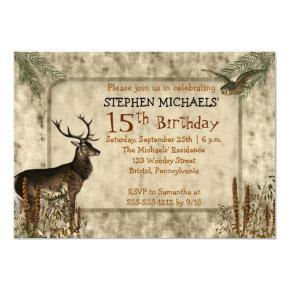 Woodsy Rustic Deer | Owl 15th Birthday Party Invitations