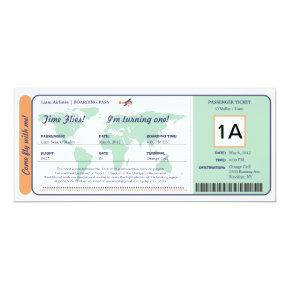 World Map Birthday Boarding Pass Ticket Invitation