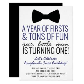 Year of Firsts Invitations Black and Navy