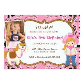 YEE-HAW! Cowgirl Themed Birthday Party Invitations