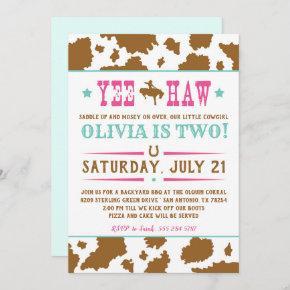 Yee Haw Rodeo Cowgirl Birthday Invitation