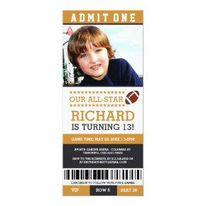 Yellow and Black Football Ticket Birthday Invites