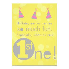 Yellow and Pink 1st girl's birthday invitation