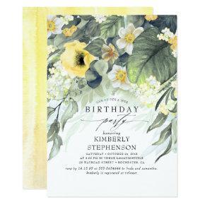 Yellow and White Floral Elegant Vintage Birthday Invitation