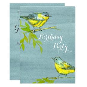 Yellow Birds Gray Birthday Party Invitation