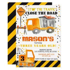 Yellow Black Construction Zone Dump Truck Party Invitation