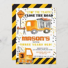Yellow Black Construction Zone Dump Truck Party Invitation