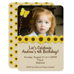 Yellow Brown Sunflower Birthday Photo Invitation