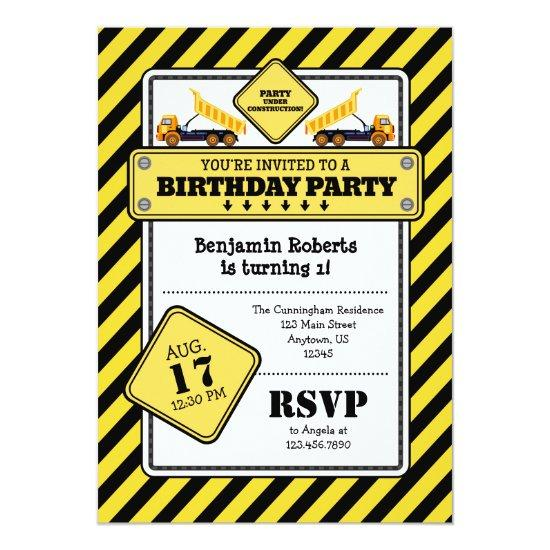 Yellow Construction Birthday Invitation Candied Clouds
