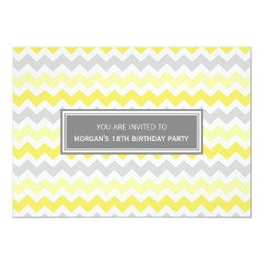 Yellow Grey Chevron 18th Birthday Party Invitations