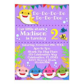 Yellow Kids Shark Family Purple Birthday Invitation