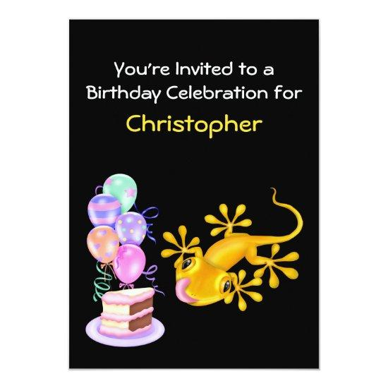Yellow Lizard Birthday Party Invitation Candied Clouds