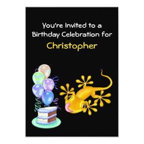 Yellow Lizard Birthday Party Invitation