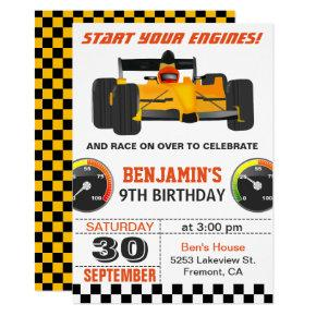 Yellow Race Car Racing Birthday Party Invitations