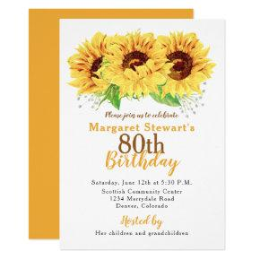 Yellow Sunflower 80th Birthday Invitations