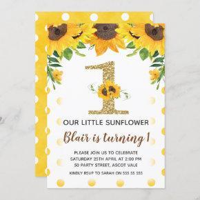 Yellow Sunflower First Birthday Invitation Girl