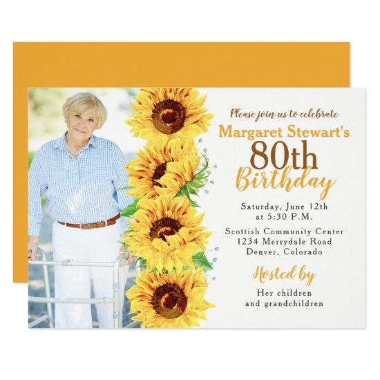 yellow sunflower photo 80th birthday invitations candied clouds
