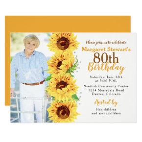 Yellow Sunflower Photo 80th Birthday Invitations