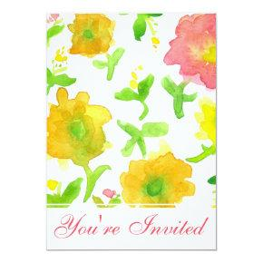 Yellow Watercolor Flowers Birthday Party Invitation