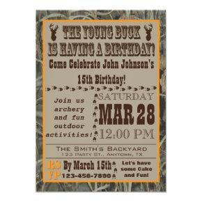 Young Buck Hunting Birthday Invitation with Camo