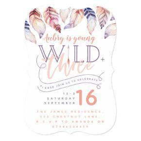 Young, wild and three birthday invitation. invitation