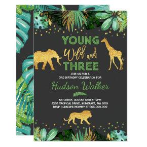 Young Wild And Three Birthday Invitations Jungle