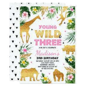 Young Wild And Three Birthday Safari Animals Invitation