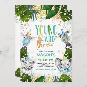 Young Wild And Three Birthday Safari Animals Party Invitation