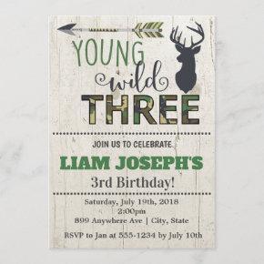 Young Wild and Three Boys 3rd Birthday Invitation