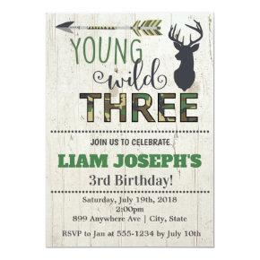Young Wild and Three Boys 3rd Birthday Invitation