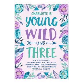 Young Wild and Three Girls Birthday Party Invitation