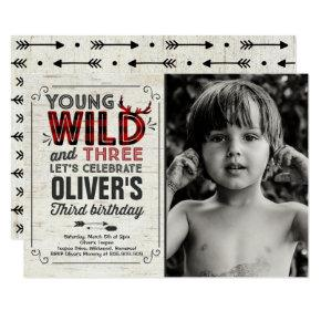 Young Wild And Three Invitation Rustic Lumberjack