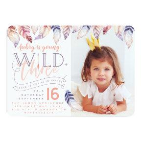 Young, wild and three photo birthday invitation. invitation