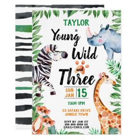 Young Wild and Three Safari Animal 3rd Birthday Invitation