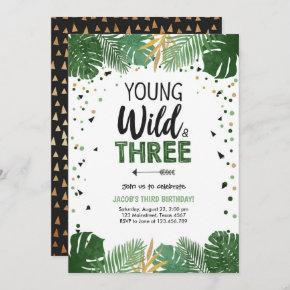 Young Wild and Three Safari Animals Boy Birthday Invitation