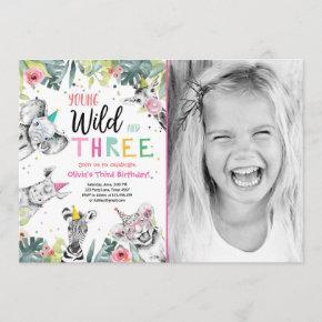 Young Wild and Three Safari Animals Girl Birthday Invitation