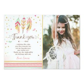 Young wild and three Thank You  Feathers Boho