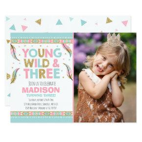 Young Wild & Three Birthday Invitations Wild Party