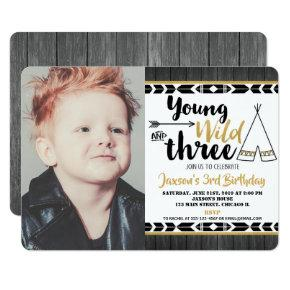 Young Wild Three Birthday Photo Invitation Boy